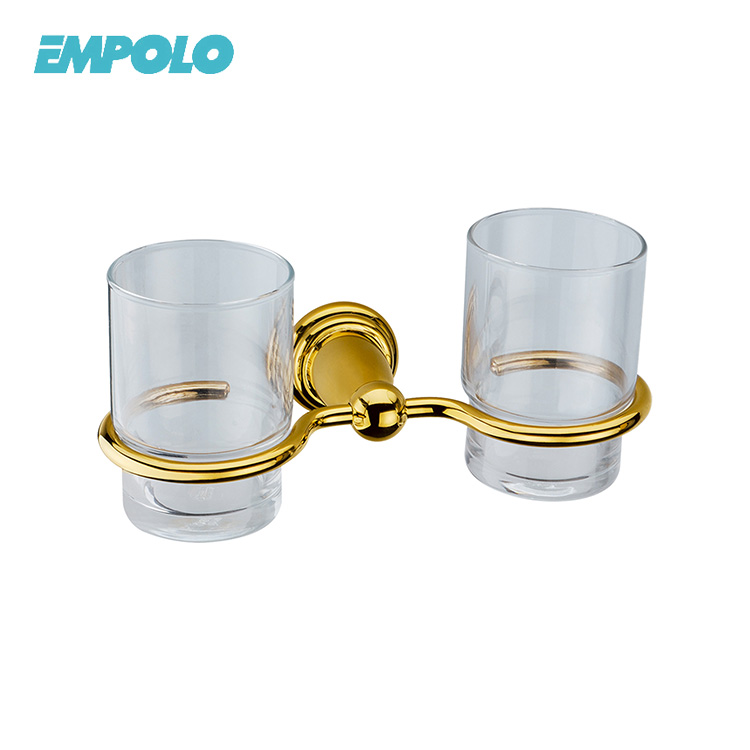 China Bathroom Accessories Beauty Gold Color Double Cup & Tumbler Holders With Glass Cups