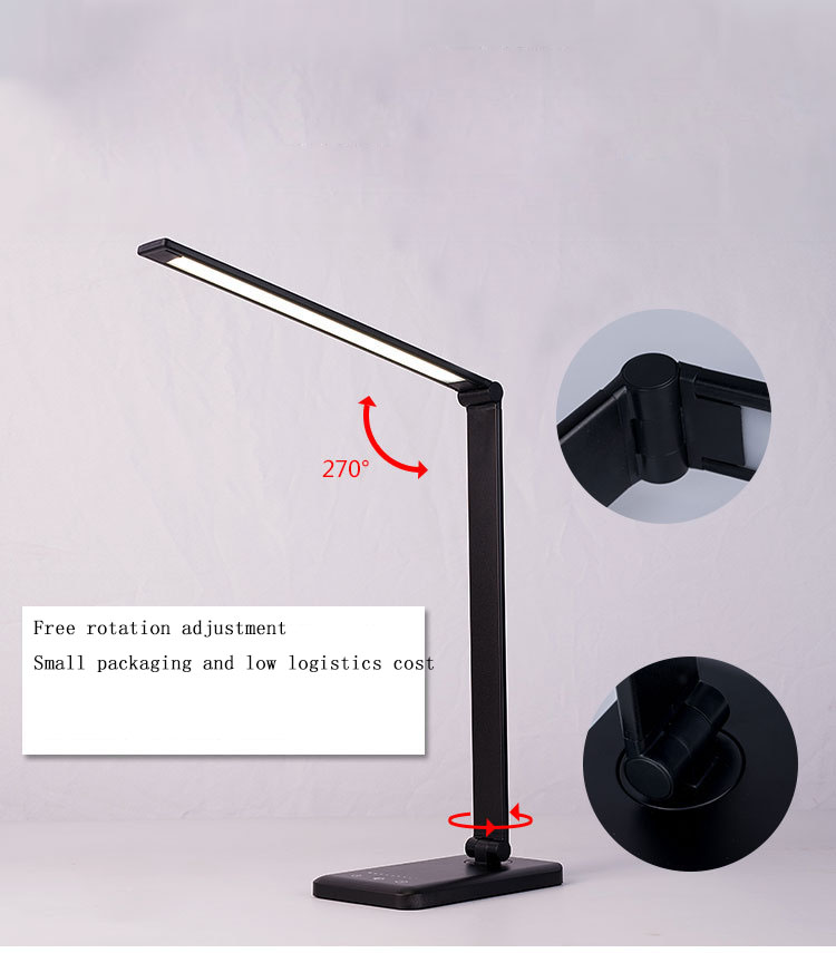 Mobile phone wireless charging desk lamp aluminum alloy folding touch 5 files dimming LED desk lamp USB reading lamp