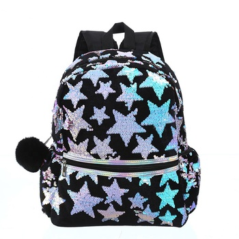 Women Sequins Star Backpack BlingBling Cartoon Backpack Black Female Student Casual Girl School Bag