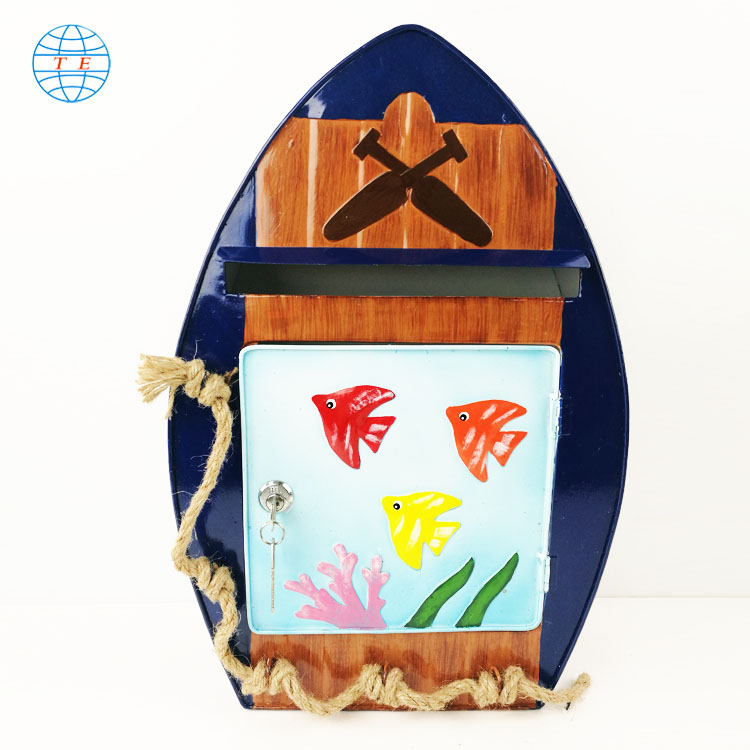 High quality cartoon boat post box,wall mounted metal garden mailbox