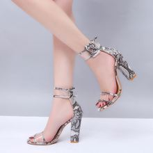 2019 fashion sexy clear chunky pump block women's sandals female shoes women heels for ladies high heel casual shoe