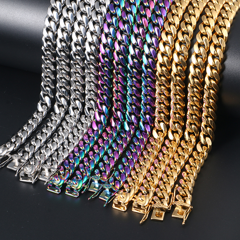 10mm Cuban Link Chain 316L Stainless Steel Miami Cuban Chain Necklaces Gold Hip Hop Jewelry
