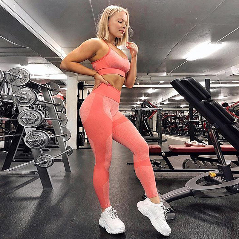 Zogifts 2019 custom yoga set fitness clothing womens Women gym suit two pieces workout sport wear seamless  sets