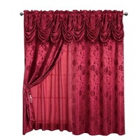 2020 Wholesale living room ready made American style luxury hotel jacquard valance curtain design home cheap curtain for windows