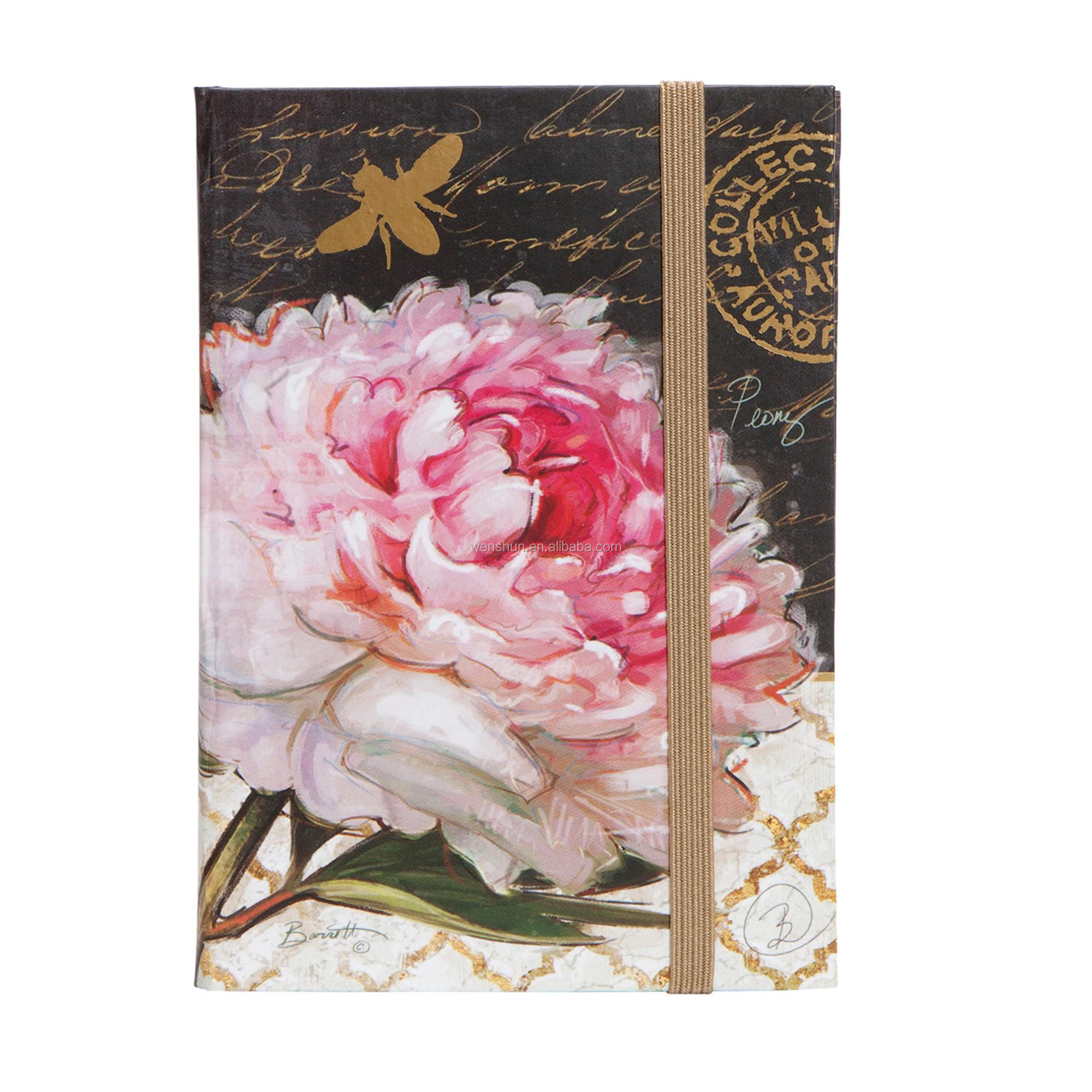 Customised Hardcover Floral Notebook A5 Agenda Flower Cute Notebook For Girls