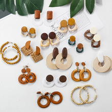 New Fashion design jewelry korean handmade environment friendly wood flower Bamboo Pearl Shell rattan <strong>earring</strong> for women