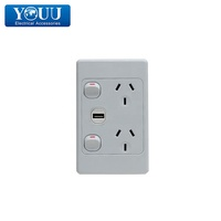 YOUU AS/NZS Standard Double Power Point 10A With USB Charger Wall Switch Socket