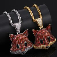Hip Hop Custom Necklace Gold Plated Fox Pendant