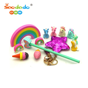 3D Stationery Set Animal Unicorn Shaped Rubber Eraser Pencil Eraser