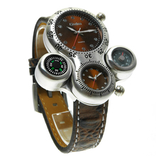 Oulm 1149 new design silver gents quartz watch weird PU leather band double time compass centigrade personality watch design