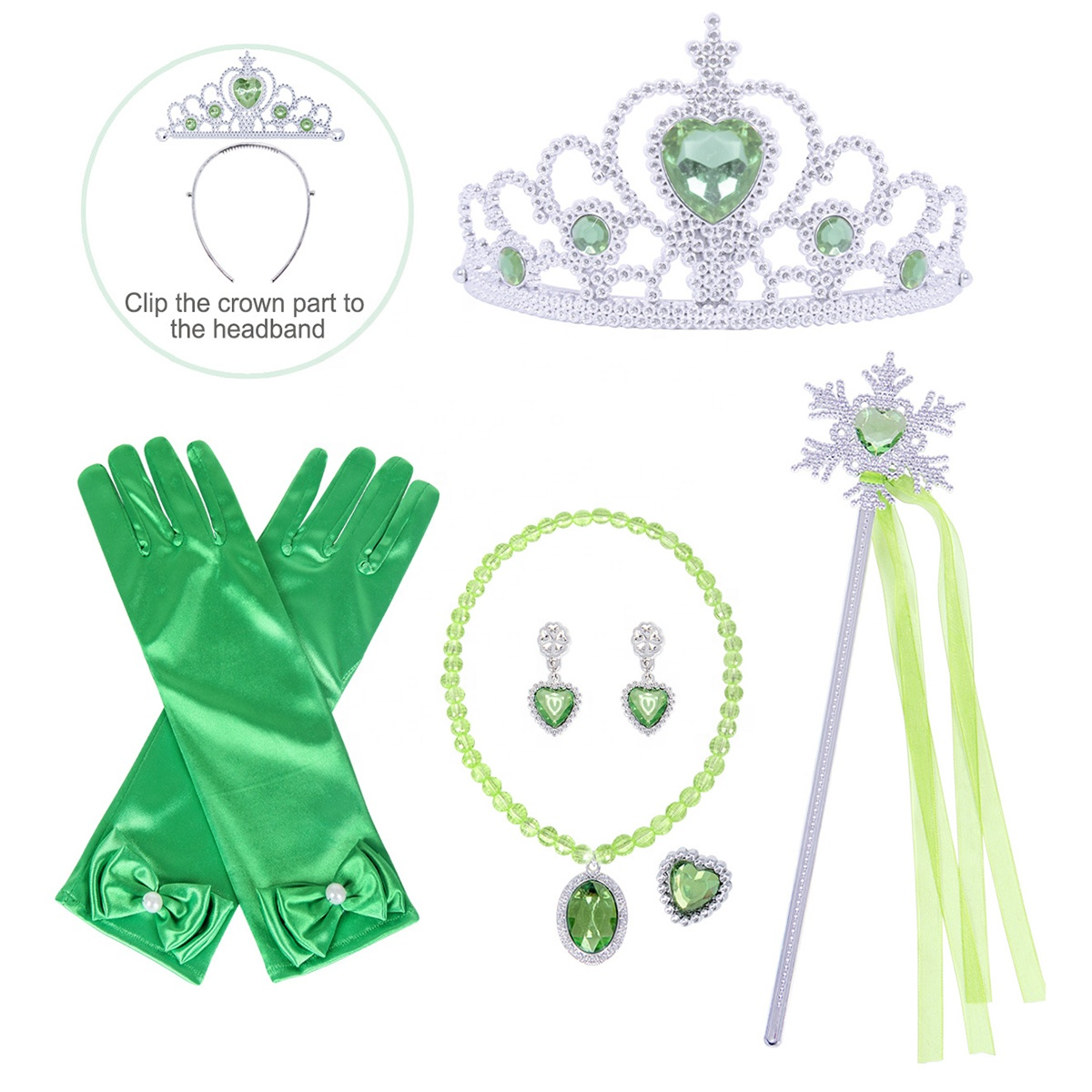 New Fashion Little Girls Costume Princess Crown Necklace Earring Ring Gloves Magic Wand Accessories