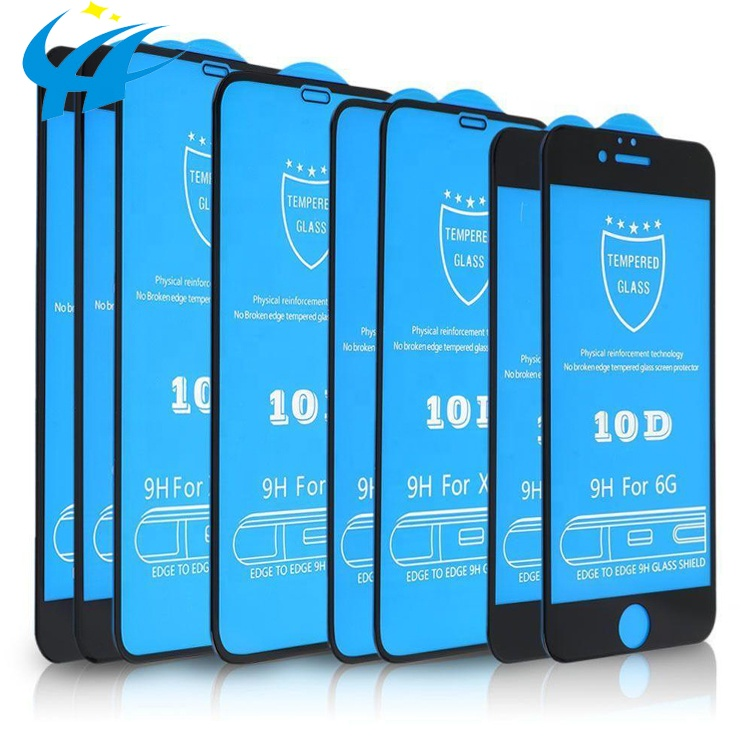 Wholesale premium <strong>10</strong> <strong>D</strong> protector screen for iPhone 9H tempered glass screen protector