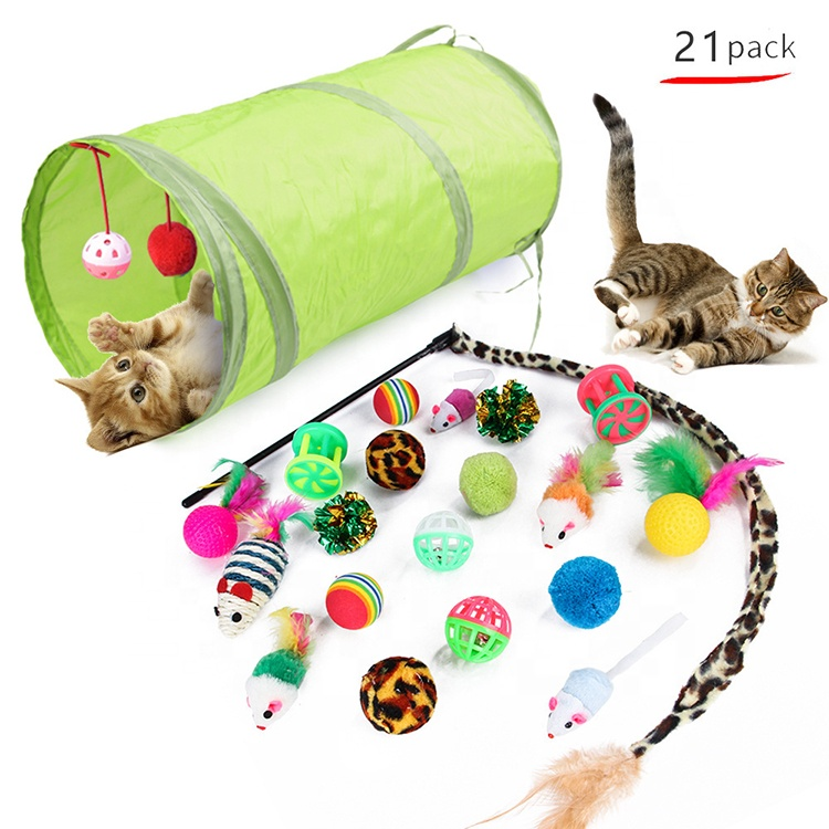 <strong>21</strong> pcs Retractable Cat Toy Wand Kitten Cat Pet Toy Wire Chaser Wand Teaser Feather Toys With 2 Way Tunnel