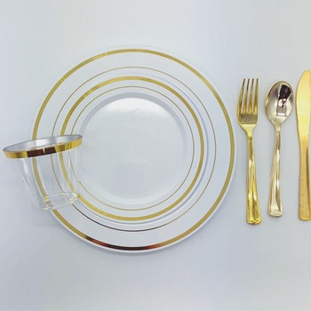 Plastic gold plated dinner set charger plate Wedding Party serving plates