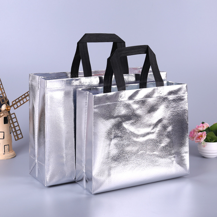 Printed Logo Laser Film Gifts Advertising Campaign Training Non Woven Shopping Bag