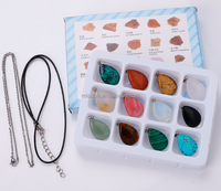 12PCS PER SET natural stone pendant charms in box with 1 cord necklace 1 chain necklace waterdrop heart natural stone pendant