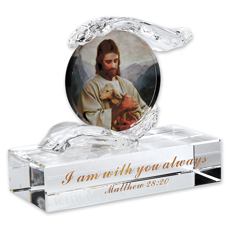 Christian Gifts Souvenir Hands Holding Crystal Jesus Picture With You Always