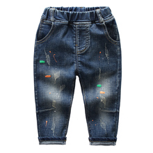 Hot sale paint splashing denim kid jeans trouser <strong>boy</strong> long <strong>pants</strong>
