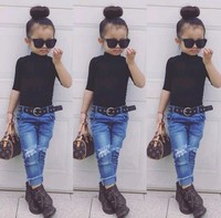 2020 New Spring Summer Three Quarter Sleeve Pure Black Tight Shirt Fashion Children Girl Bottoming Top Shirt 1-8T