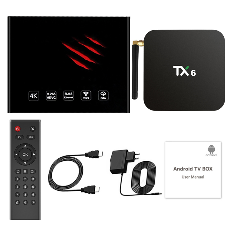 Newest H6 TV box Quad Core Android 9.0 Tanix TX6 4GB 32GB Internet Allwinner H6 Android TV Box