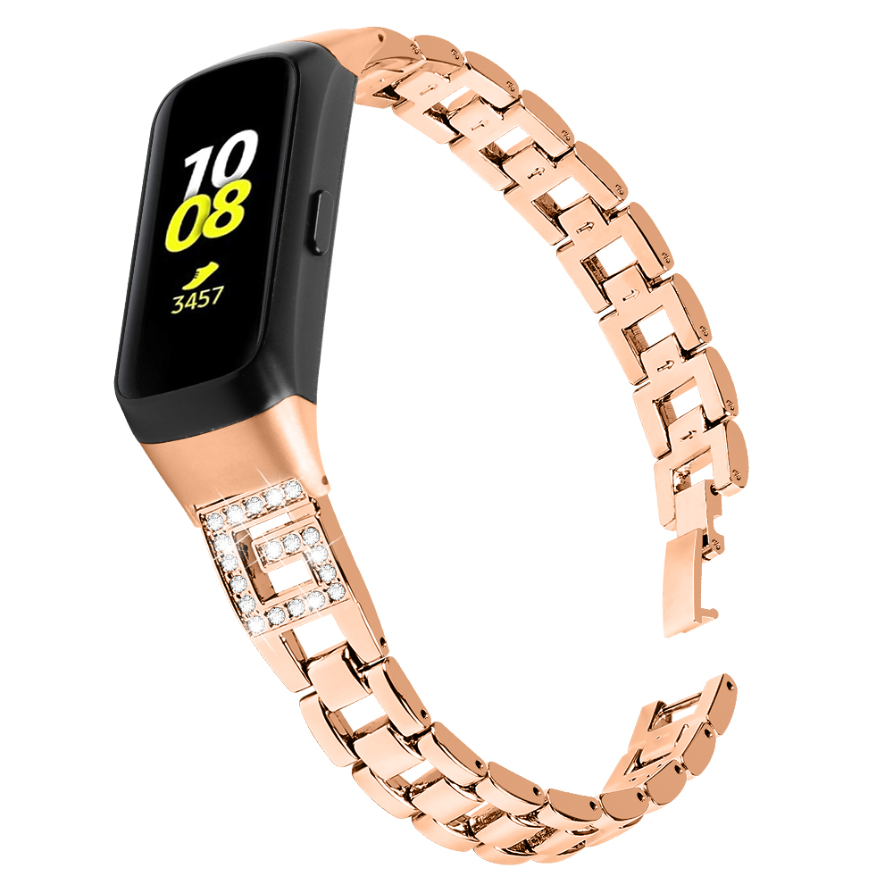 Amazon Luxury Shinny Metal Cuff Bracelet Bands Strap with Case for Samsung R370 Smart Watch