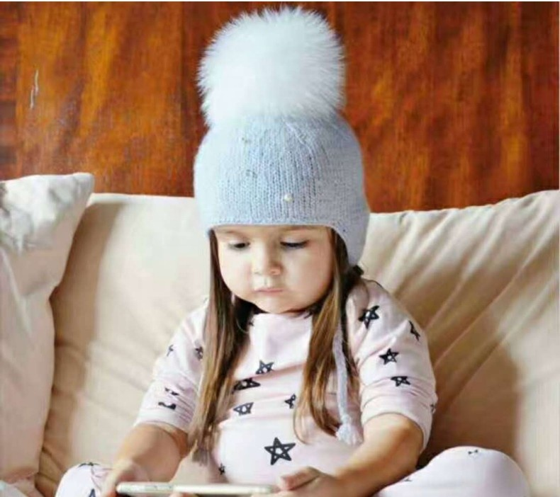 Kids Child Baby Girls Pearl Braid Beanie Hat Winter Warm Knit Fur Pom Bobble <strong>Cap</strong>
