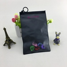2020 Newest Promotional <strong>Black</strong> Frosted PVC stationery tool gift packaging frost pvc slider zip lock bag with mini zip ring