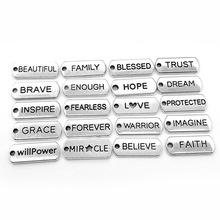 Antique Sliver Plated Word Message Letter <strong>Charm</strong> DIY Metal Inspirational Words <strong>Charms</strong> for Jewelry &amp; Bracelet Making