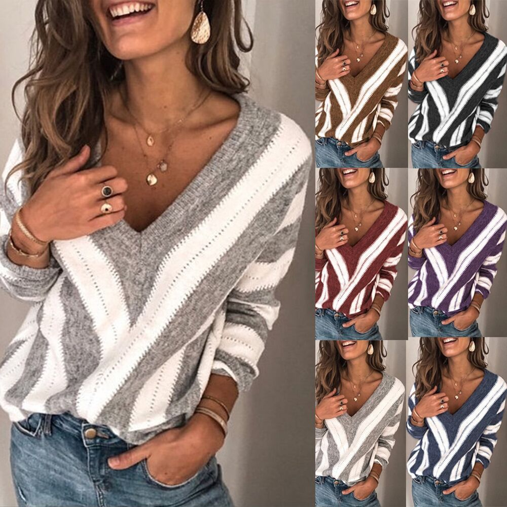 New Fashion women loose stripe V-neckPullover blouse Tops plus size S-5XL