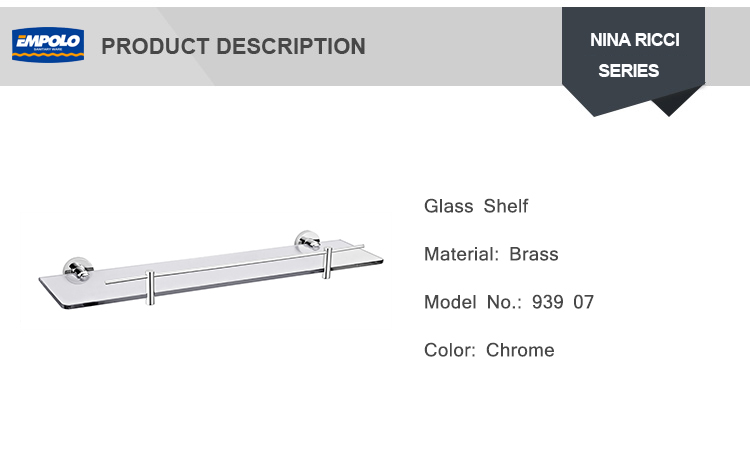 Bathroom Single Tier 24 inch Rectangular Tempered glass shelves