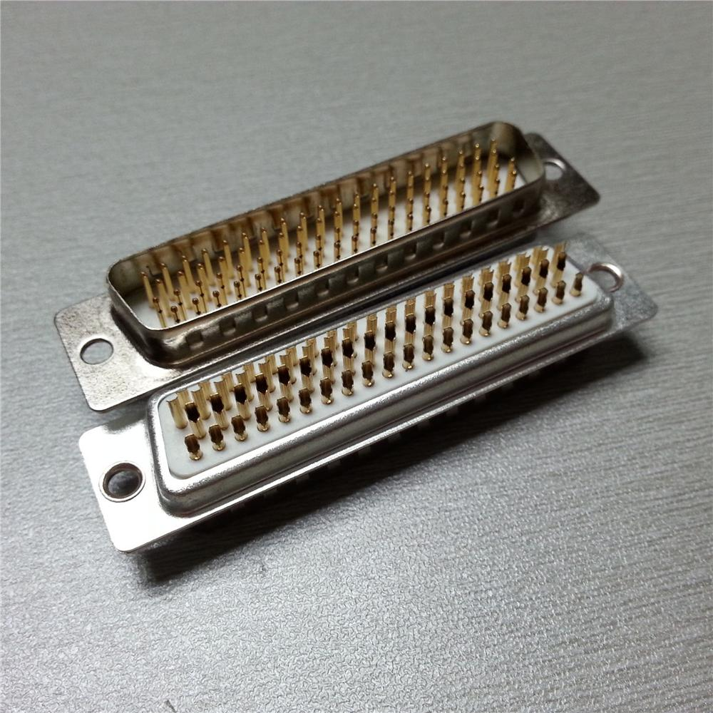 White Insulator 3U Gold Plating <strong>D</strong> Sub 78 Pin Solder Male Connector