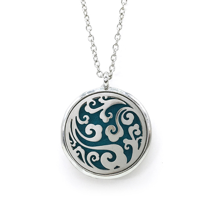 35MM Stainless <strong>Steel</strong> Round Magnetic Locket Perfume Aromatherapy Essential Oil Diffuser Necklace