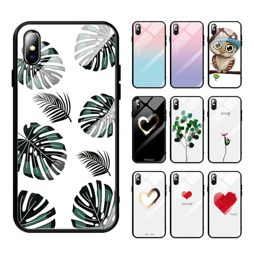 New Fashion Painted Pattern Phone <strong>Case</strong> Original Tempered Glass Mobile Phone <strong>Cases</strong> Cover For iPhone X