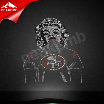 Custom Football Team 49 ERS Iron on  Rhinestone Transfer