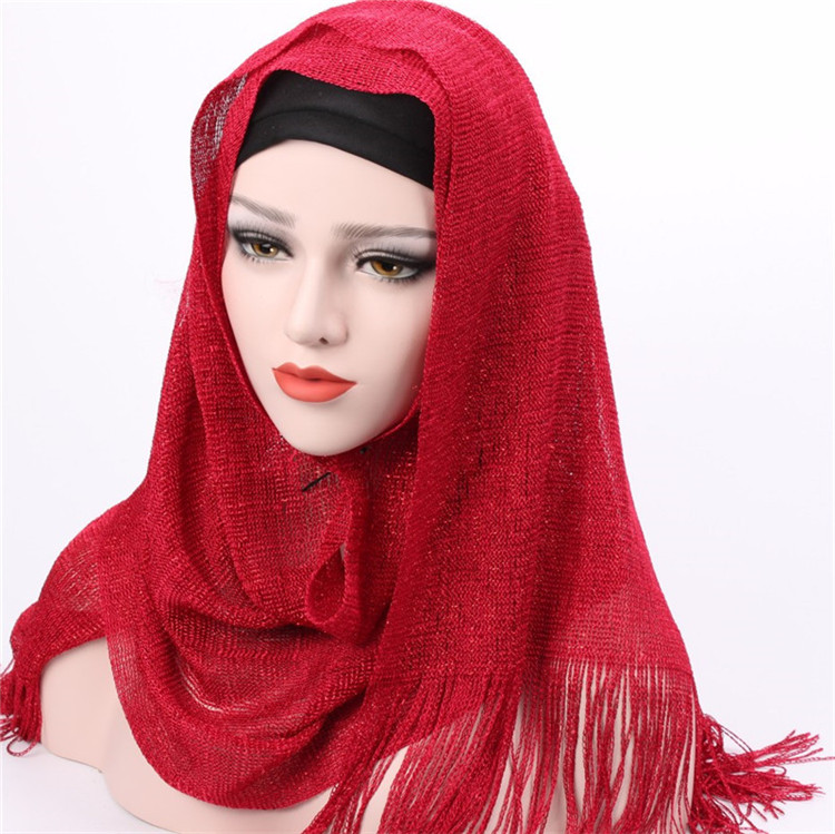 Wholesale <strong>scarf</strong> women headscarf fashion multi colors dual tassel edges polyester muslim hijab 2019 hot sale