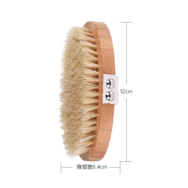 Nature Dry / Wet boar bristle long  handle cleaning bamboo body brush for Shower Massage and foot cleaning brush/tool