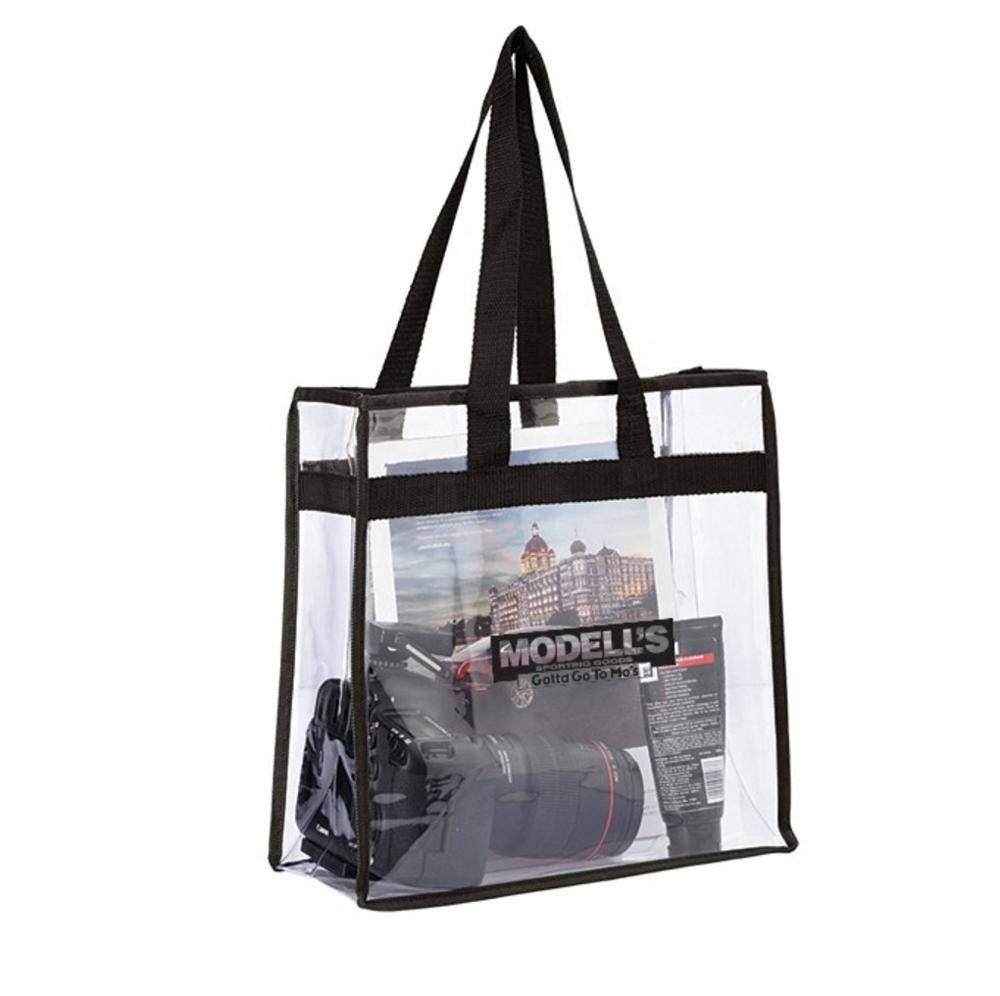 <strong>12</strong> <strong>x</strong> <strong>12</strong> <strong>x</strong> 6inch Promotion Student Clear PVC Zipper Tote Bag Plastic Handbag