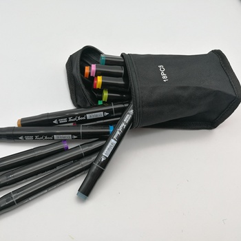 Sketch artist permanent marker promarker dual tips double sides square bar 18 colors with black cloth bag