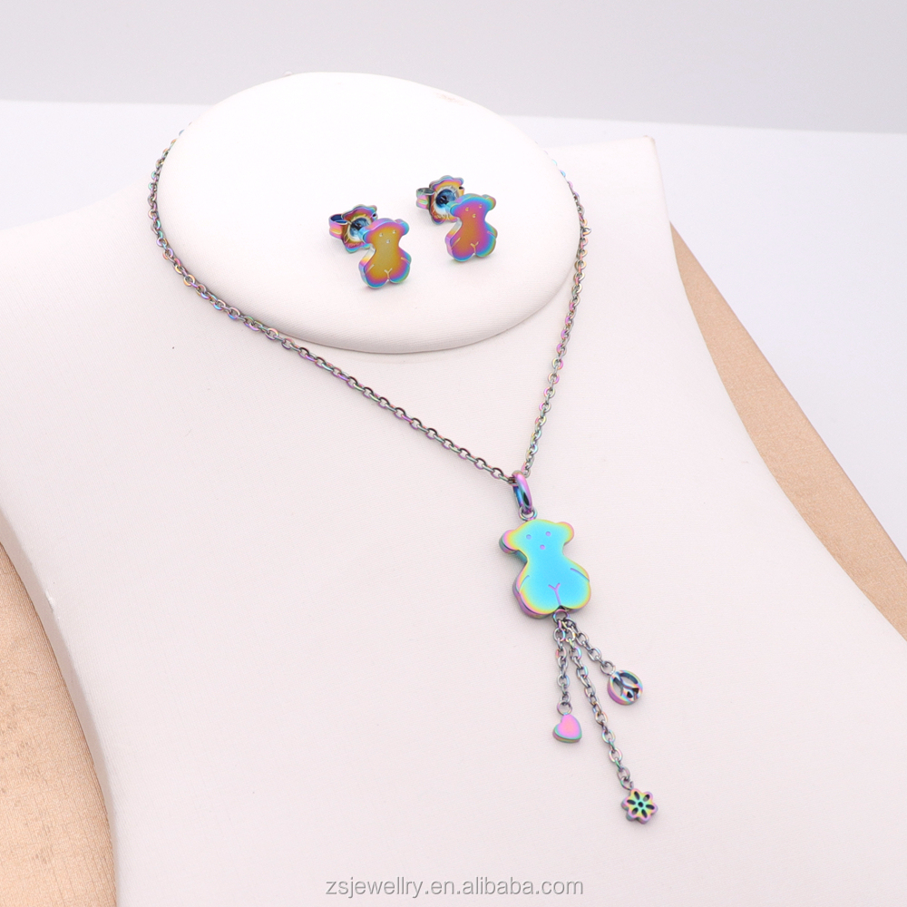 Multicolor Latest Jewelry Sets Small Moq Stainless Steel Fashion Jewelry Little Girl Jewelry Set