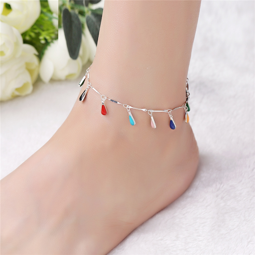 RTS Silver Anklet Chain Wholesale Women Anklets With Rhinestone Trims Tiny Anklets <strong>A008</strong>