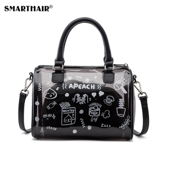 High Quality Black Clear TPU Jelly Handbags Women Tote Bags Wholesale