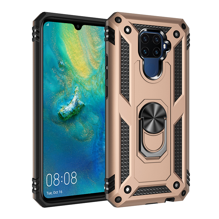 360 Degree Rotating Gear Metal Ring Kickstand Silicone Bumper Armor Phone <strong>Case</strong> for Huawei Mate30 lite Nova 5i Pro