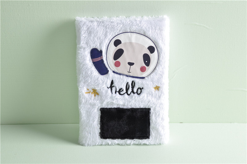 Fashion Space Panda Plush Notebook Cute Furry Journal Dairy Book for School