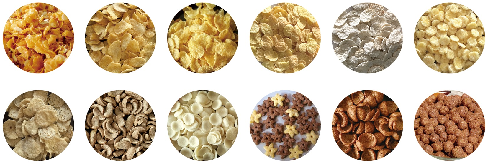 Puffed corn flakes breakfast cereals snacks making machine