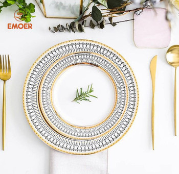 Bone China ceramic plates wedding and event tableware European style dinner plate