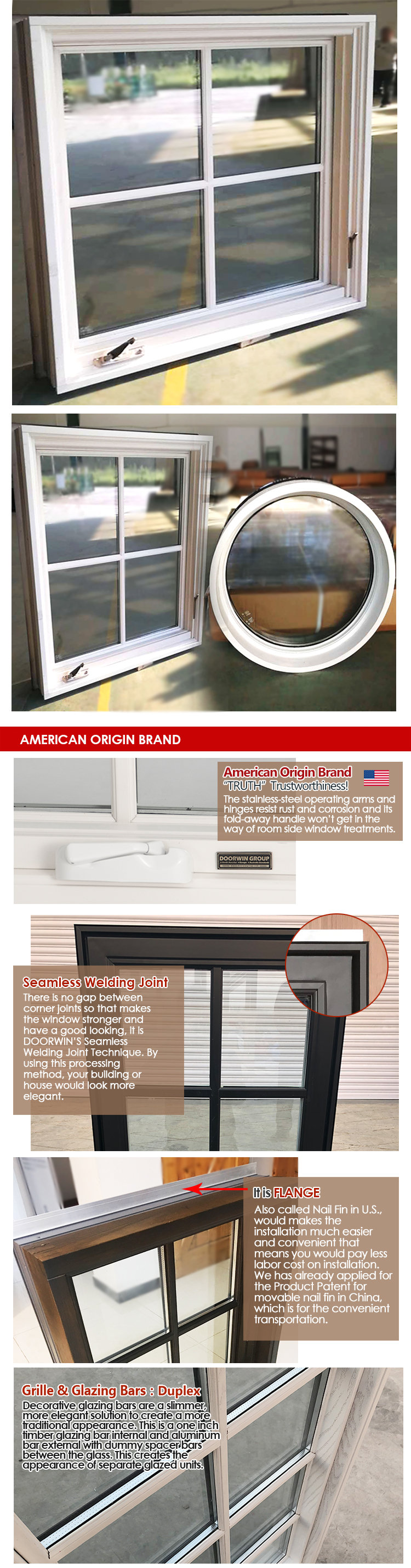 American Style Wooden grille design large size best supplier white crank open casement windows