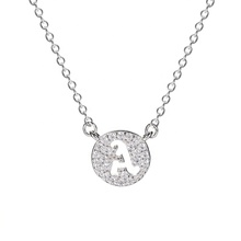 Hot selling sterling silver A- <strong>Z</strong> initial zircon pave setting letter pendant necklace for women