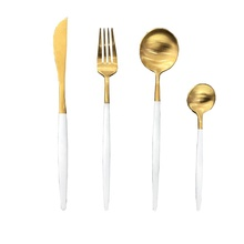Stainless steel flatware PVD golden and coating white <strong>cutlery</strong> <strong>set</strong>