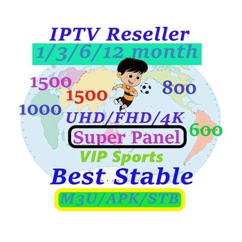 IPTV Reseller Admin panel VIP SPORTS UHD 1 year iptv m3u subscription 5200 Live 4300 VOD Europe Arabic USA Latino UK adult X X X