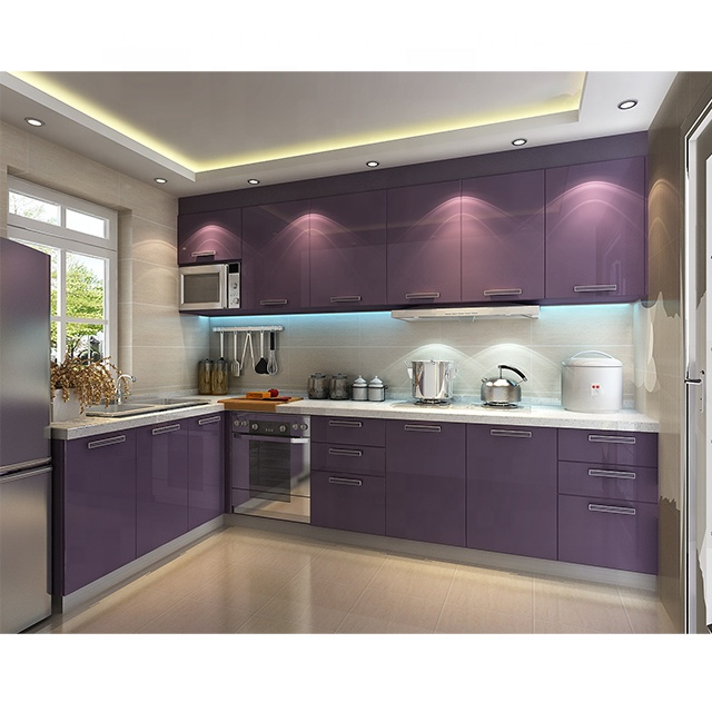 Modern L shape purple high gloss lacquer kitchen cabinets